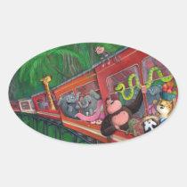 artsprojekt, jungle, animals, jungle animals, train, jungle train, cute, jungle safari, children train, cute jungle, snake, elephant, gorilla, monkey, leopard, giraffe, cute animals, for kids, children illustration, kids, kid, illustration, children, nursery, train gift, train present, jungle gift, jungle present, tropical gift, tropical present, animals gift, animals present, Sticker with custom graphic design