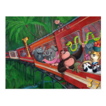 Animal Jungle Train Postcard