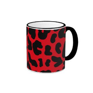 Animal Leopard Print in Red Ringer Mug
