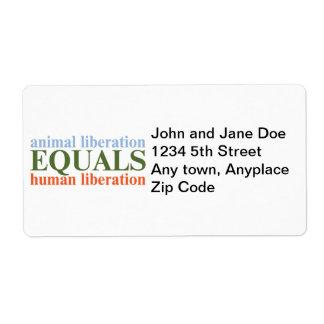 Animal Liberation Equals Human Liberation Shipping Label
