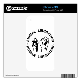 Animal LIberation - Human Liberation Decals For iPhone 4S