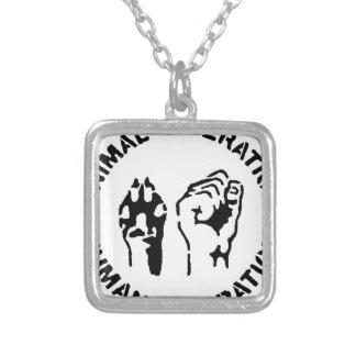 Animal LIberation - Human Liberation Square Pendant Necklace