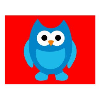 Animal lindo azul del dibujo animado de los postal