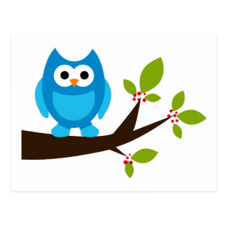 Animal lindo azul del dibujo animado del árbol de postal