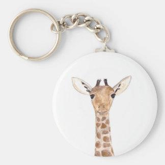 Animal lindo de la jirafa del bebé llavero redondo tipo pin