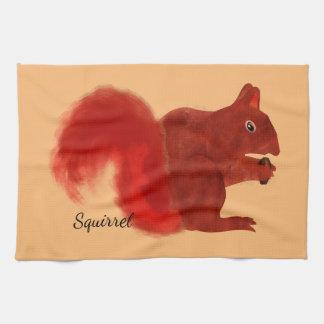 Animal lindo del arbolado de la ardilla roja toalla de cocina