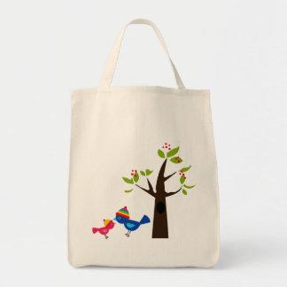 Animal lindo del dibujo animado del árbol de famil bolsas de mano