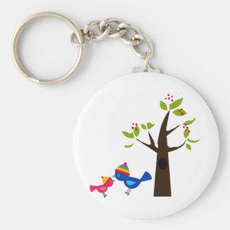 Animal lindo del dibujo animado del árbol de famil llavero redondo tipo pin