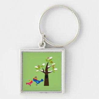Animal lindo del dibujo animado del árbol de famil llavero cuadrado plateado