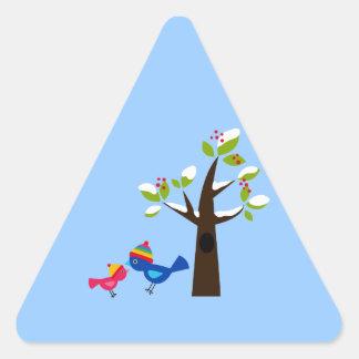 Animal lindo del dibujo animado del árbol de pegatinas de triangulo