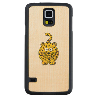 Animal lindo del dibujo animado del leopardo funda de galaxy s5 slim arce