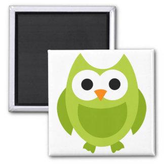 Animal lindo del dibujo animado del verde de los p imán cuadrado