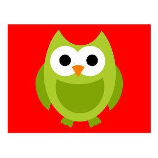 Animal lindo del dibujo animado del verde de los postal