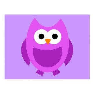 Animal lindo púrpura del dibujo animado de los postal