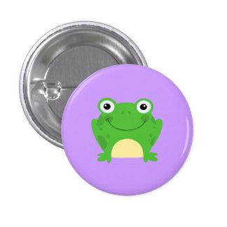 Animal lindo verde anfibio del dibujo animado de l pin redondo de 1 pulgada