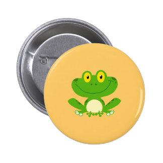 Animal lindo verde anfibio del dibujo animado de l pin redondo de 2 pulgadas