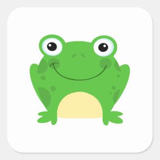 Animal lindo verde anfibio del dibujo animado de calcomanía cuadradas personalizadas