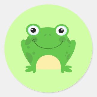Animal lindo verde anfibio del dibujo animado de pegatina redonda