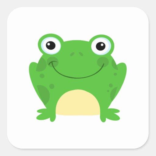 Animal lindo verde anfibio del dibujo animado de pegatina cuadrada
