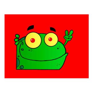 Animal lindo verde anfibio del dibujo animado de postal