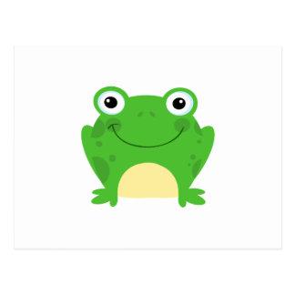 Animal lindo verde anfibio del dibujo animado de postales