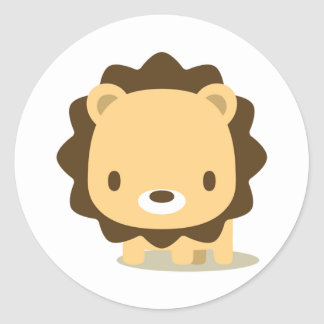 animal lion: seal classic round sticker
