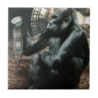 Animal loco del gorila del mono azulejo cuadrado pequeño