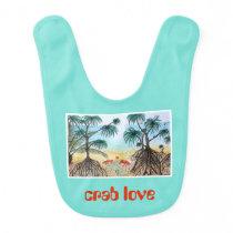Animal Love Drawing Baby Bib - Crab Love