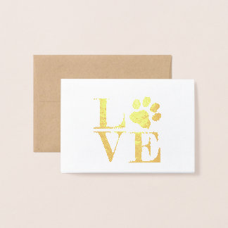 Animal Love (paw print) Gold Foil Notecards Foil Card