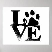 Animal Love Paw Print Poster