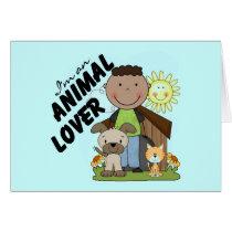 Animal Lover African American Boy Tshirts Card