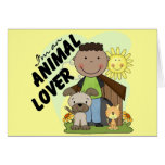 Animal Lover African American Boy Tshirts Cards