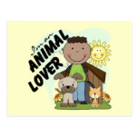 Animal Lover African American Boy Tshirts Postcard
