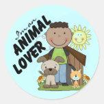 Animal Lover African American Boy Tshirts Round Sticker