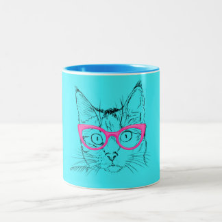 Animal Lover | Cute Blue Cat in Pink Glasses Two-Tone Coffee Mug