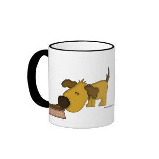 Animal Lover-Cute Puppy with Dog-bowl Ringer Coffee Mug