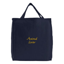Animal Lover Embroidered Tote Bag