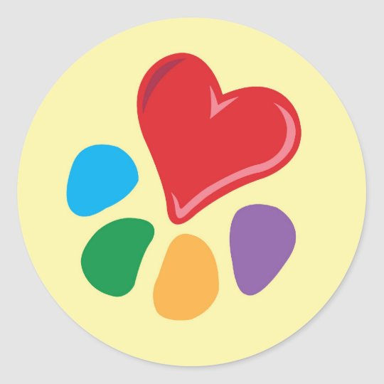 Animal Lover_Heart-Paw Classic Round Sticker