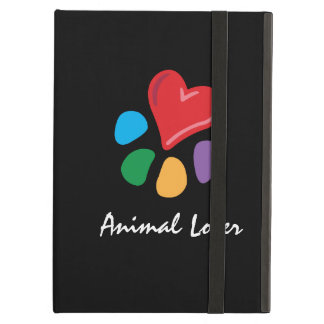 Animal Lover_Heart-Paw_on black_personalized iPad Cases