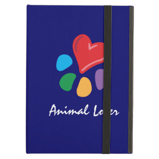 Animal Lover_Heart-Paw_on blue_personalized iPad Covers