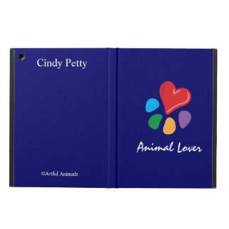Animal Lover_Heart-Paw_on blue_personalized iPad Air Case
