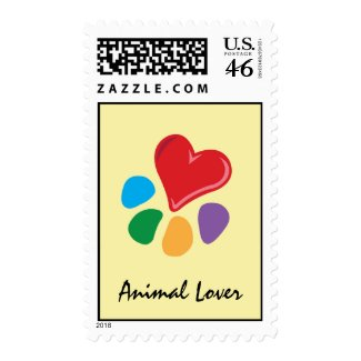 Animal Lover_Heart-Paw postage stamp