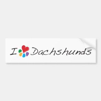 Animal Lover_I Heart Dachshunds Bumper Sticker
