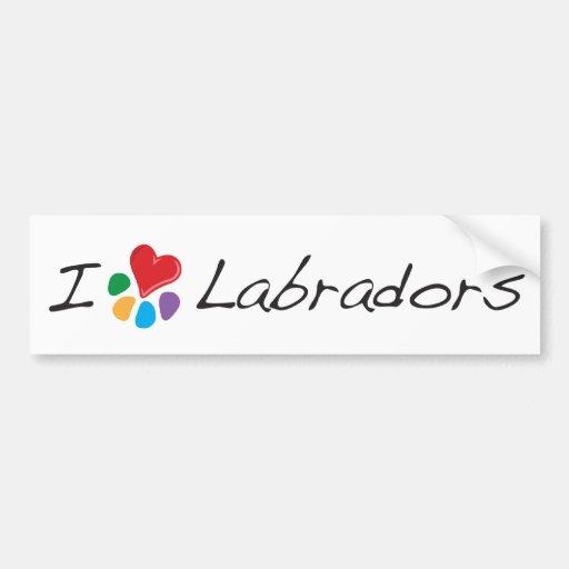 Animal Lover_I Heart Labradors Bumper Sticker