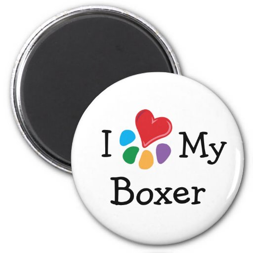 Animal Lover_I Heart My Boxer 2 Inch Round Magnet