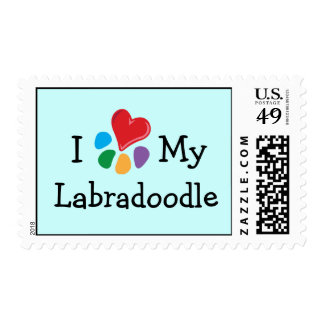Animal Lover_I Heart My Labradoodle postage
