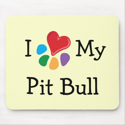 Animal Lover_I Heart My Pit Bull Mouse Pads