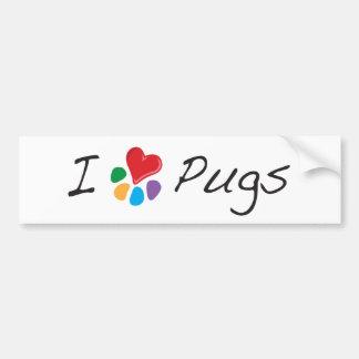 Animal Lover_I Heart Pugs Bumper Sticker