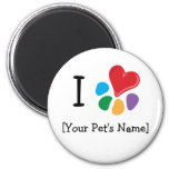 Animal Lover_I Heart template 2 Inch Round Magnet