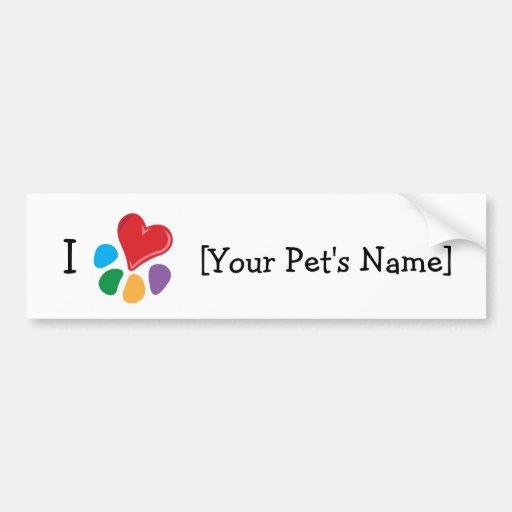 Animal Lover_I Heart template Car Bumper Sticker
